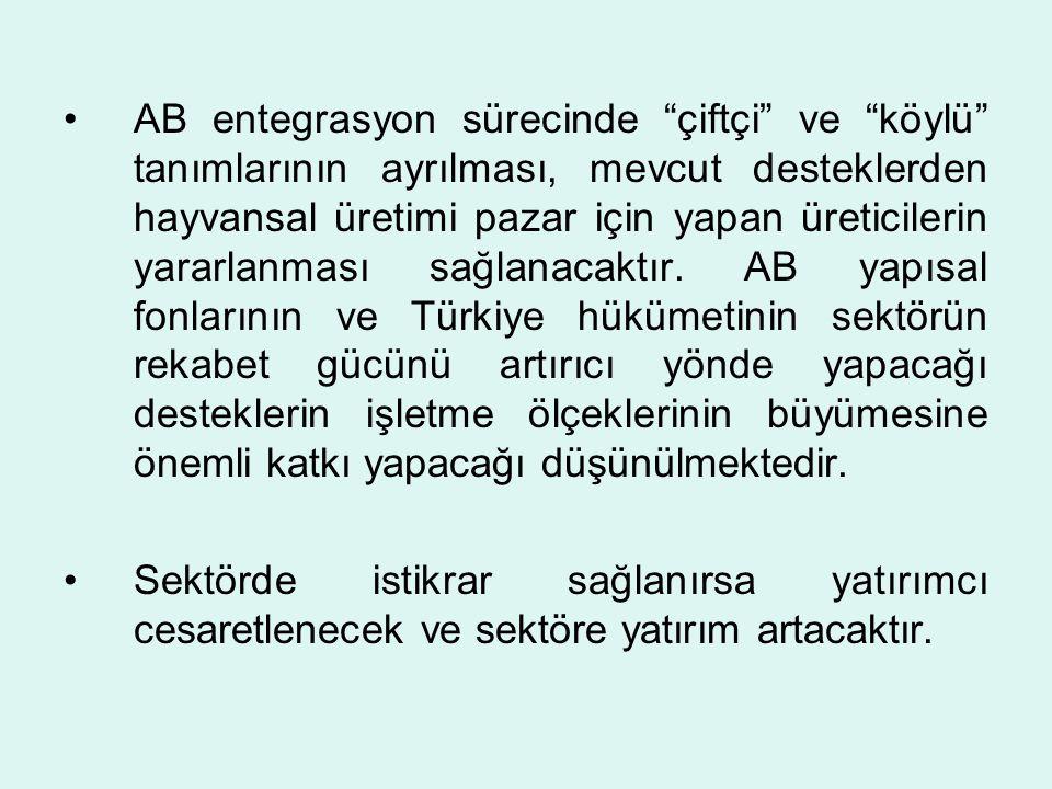 AB entegrasyon sürecinde çiftçi ve köylü tanımlarının ayrılması, mevcut desteklerden hayvansal üretimi pazar için yapan üreticilerin yararlanması sağlanacaktır. AB yapısal fonlarının ve Türkiye hükümetinin sektörün rekabet gücünü artırıcı yönde yapacağı desteklerin işletme ölçeklerinin büyümesine önemli katkı yapacağı düşünülmektedir.