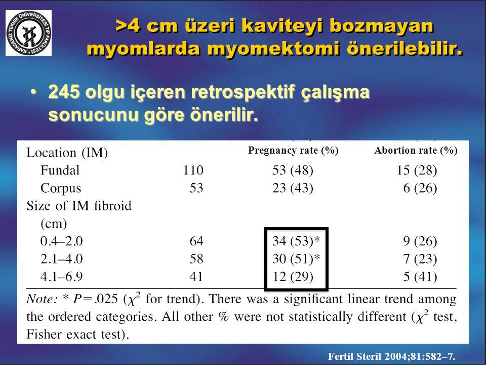 >4 cm üzeri kaviteyi bozmayan myomlarda myomektomi önerilebilir.