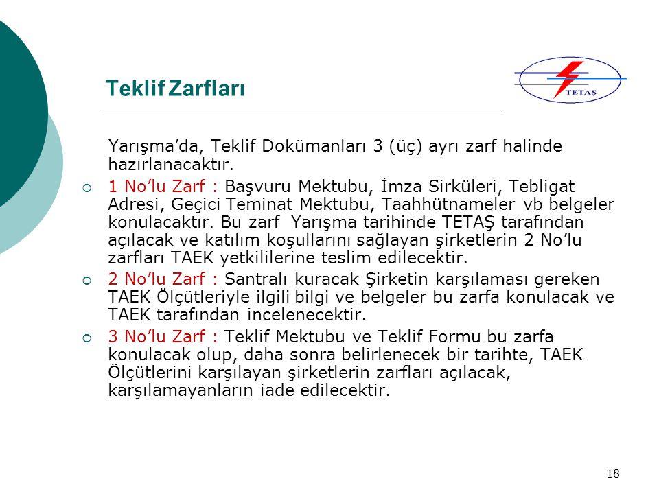 Teklif Zarfları Yarışma'da, Teklif Dokümanları 3 (üç) ayrı zarf halinde hazırlanacaktır.