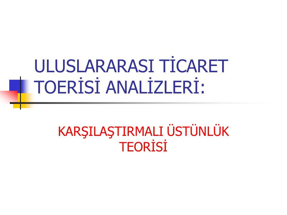 ULUSLARARASI TİCARET TOERİSİ ANALİZLERİ: