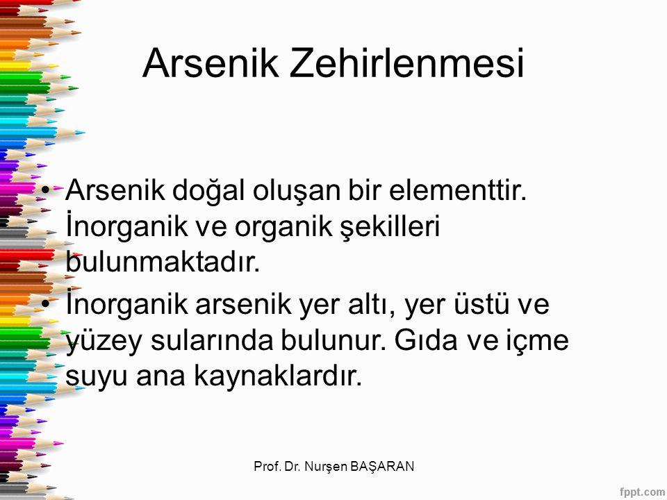 Arsenik Zehirlenmesi Arsenik doğal oluşan bir elementtir. İnorganik ve organik şekilleri bulunmaktadır.