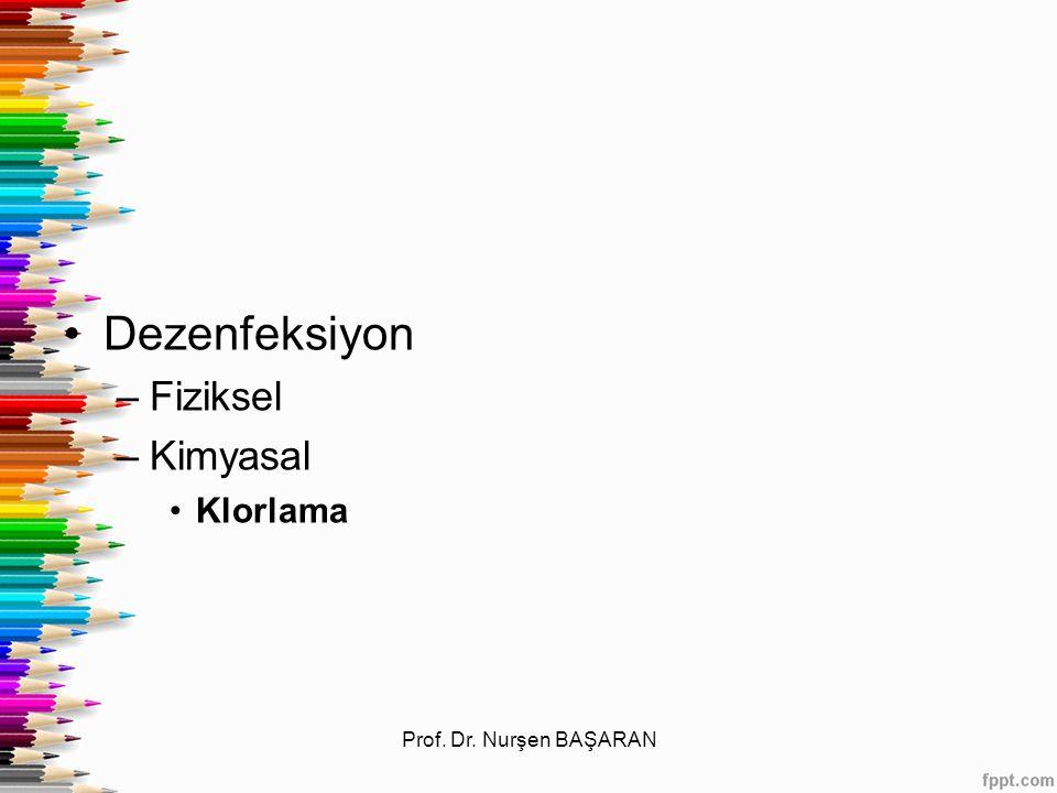 Dezenfeksiyon Fiziksel Kimyasal Klorlama Prof. Dr. Nurşen BAŞARAN