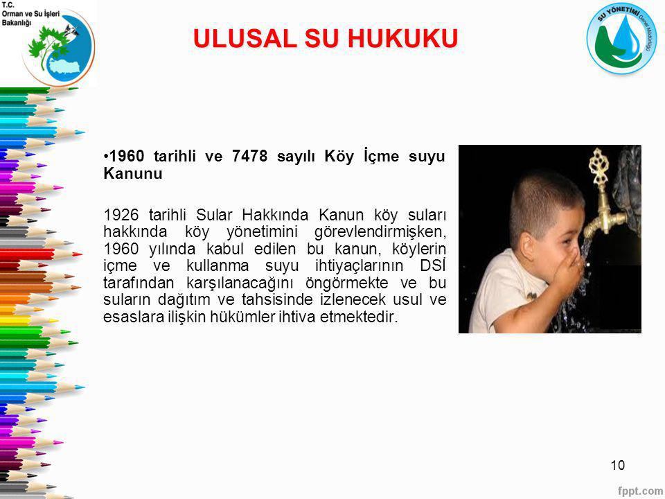 ULUSAL SU HUKUKU 1960 tarihli ve 7478 sayılı Köy İçme suyu Kanunu