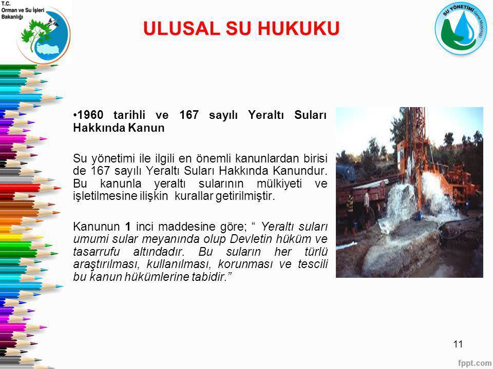 ULUSAL SU HUKUKU 1960 tarihli ve 167 sayılı Yeraltı Suları Hakkında Kanun.