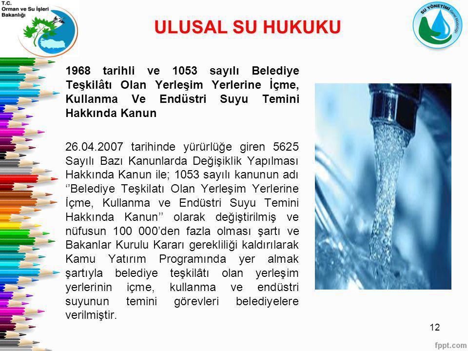ULUSAL SU HUKUKU 1968 tarihli ve 1053 sayılı Belediye Teşkilâtı Olan Yerleşim Yerlerine İçme, Kullanma Ve Endüstri Suyu Temini Hakkında Kanun.
