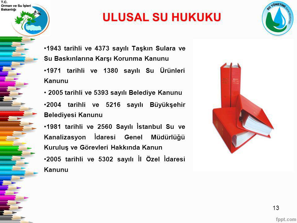 ULUSAL SU HUKUKU 1943 tarihli ve 4373 sayılı Taşkın Sulara ve Su Baskınlarına Karşı Korunma Kanunu.