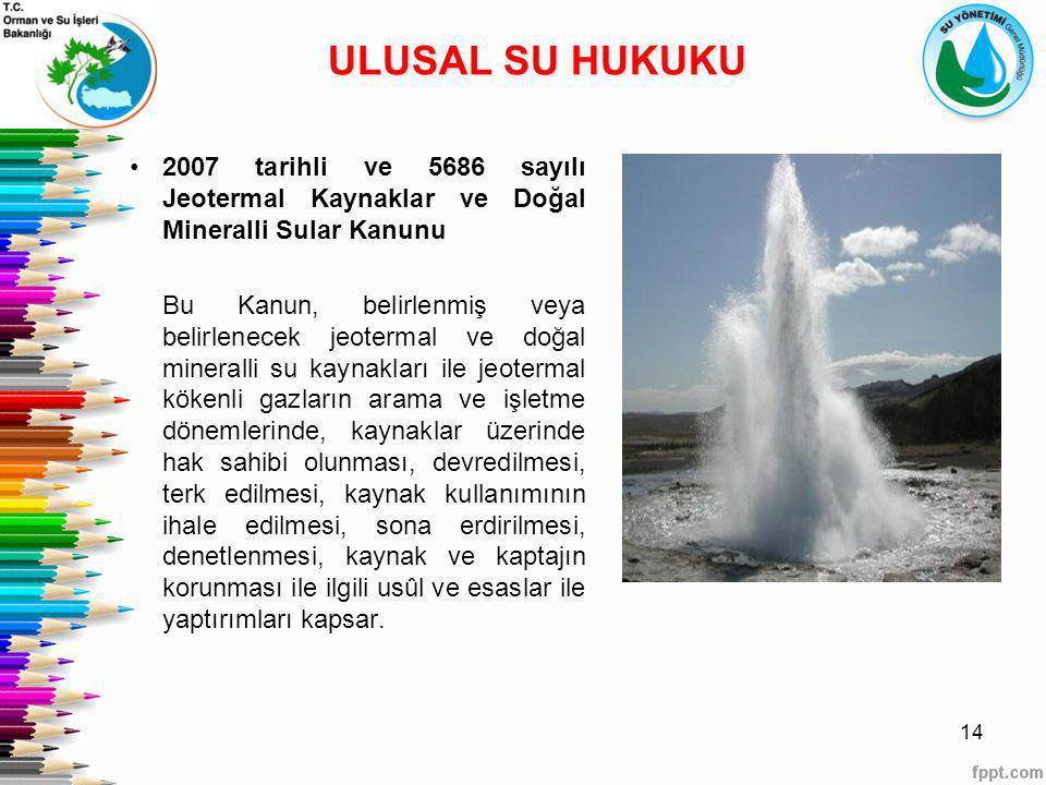 ULUSAL SU HUKUKU 2007 tarihli ve 5686 sayılı Jeotermal Kaynaklar ve Doğal Mineralli Sular Kanunu.
