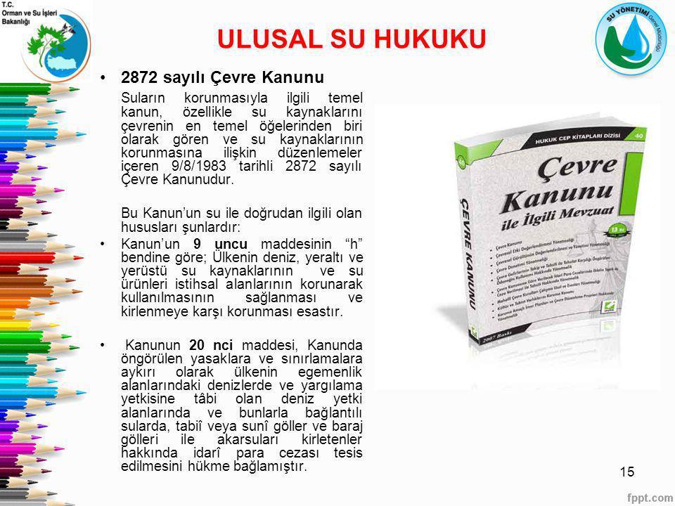 ULUSAL SU HUKUKU 2872 sayılı Çevre Kanunu