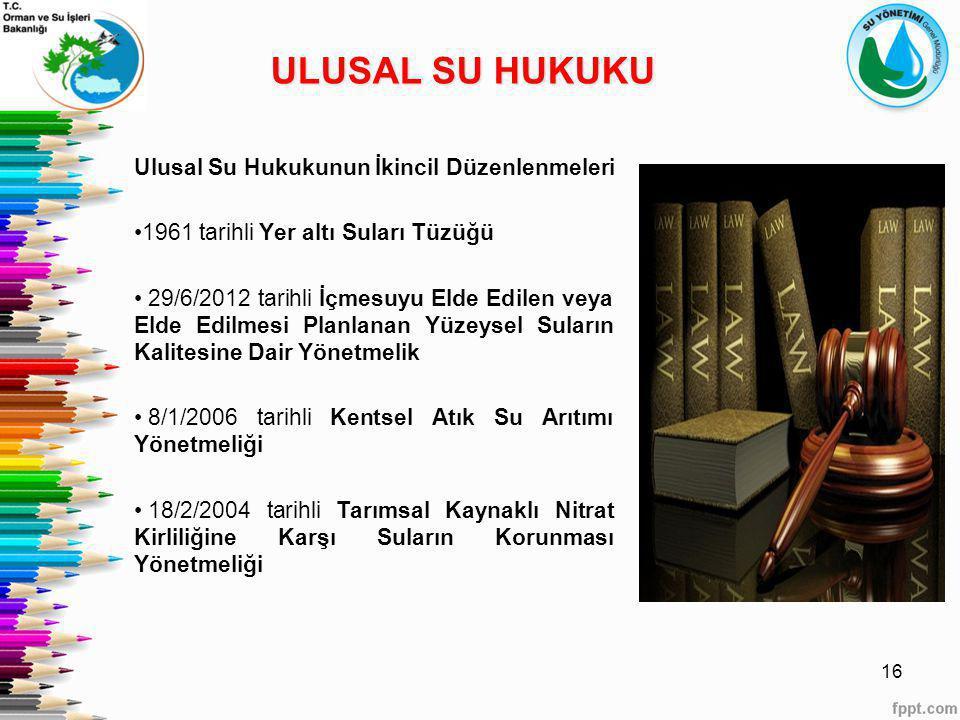 ULUSAL SU HUKUKU Ulusal Su Hukukunun İkincil Düzenlenmeleri