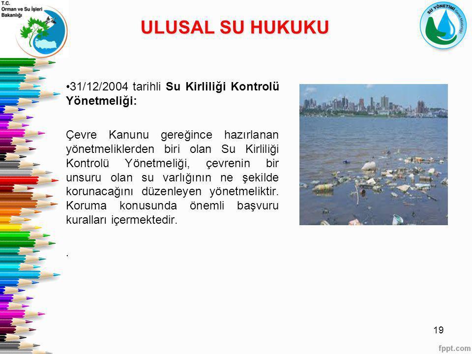 ULUSAL SU HUKUKU 31/12/2004 tarihli Su Kirliliği Kontrolü Yönetmeliği: