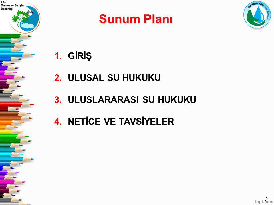 Sunum Planı GİRİŞ ULUSAL SU HUKUKU ULUSLARARASI SU HUKUKU