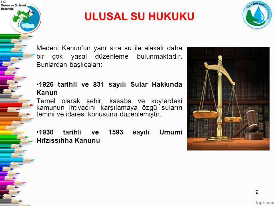 ULUSAL SU HUKUKU Medeni Kanun'un yanı sıra su ile alakalı daha bir çok yasal düzenleme bulunmaktadır. Bunlardan başlıcaları: