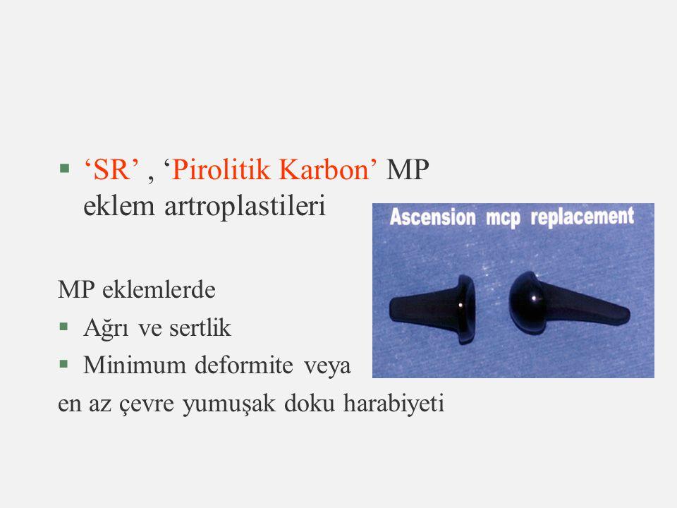 'SR' , 'Pirolitik Karbon' MP eklem artroplastileri