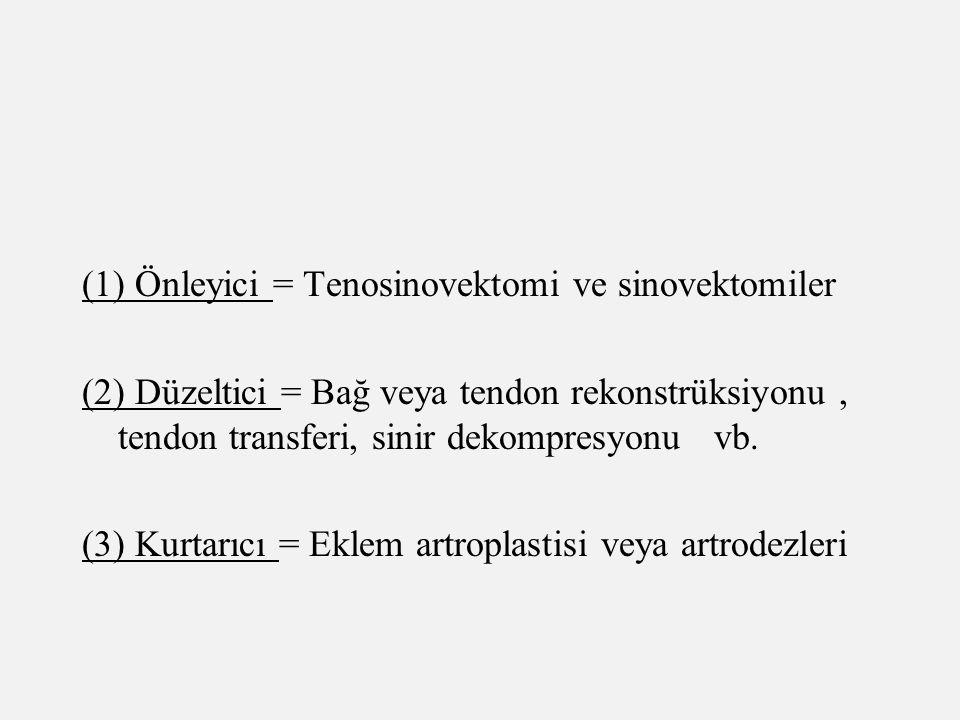 (1) Önleyici = Tenosinovektomi ve sinovektomiler