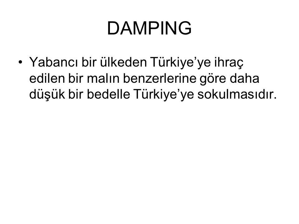 DAMPING Yabancı bir ülkeden Türkiye'ye ihraç edilen bir malın benzerlerine göre daha düşük bir bedelle Türkiye'ye sokulmasıdır.