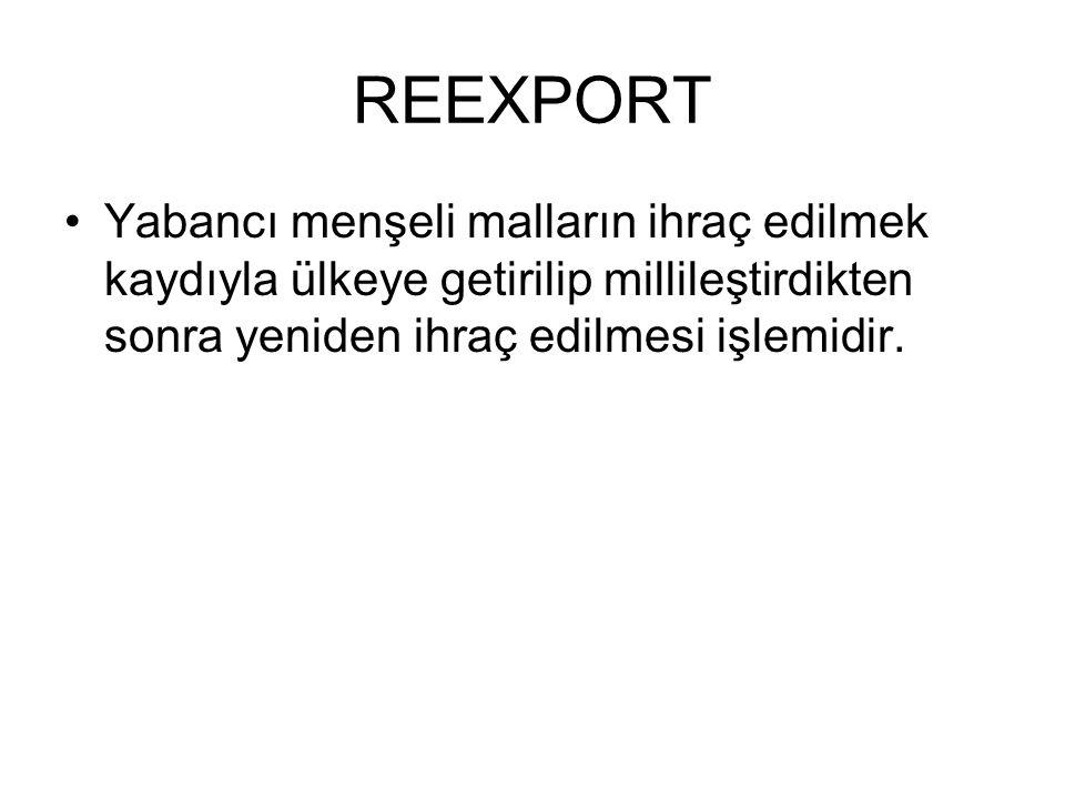 REEXPORT Yabancı menşeli malların ihraç edilmek kaydıyla ülkeye getirilip millileştirdikten sonra yeniden ihraç edilmesi işlemidir.