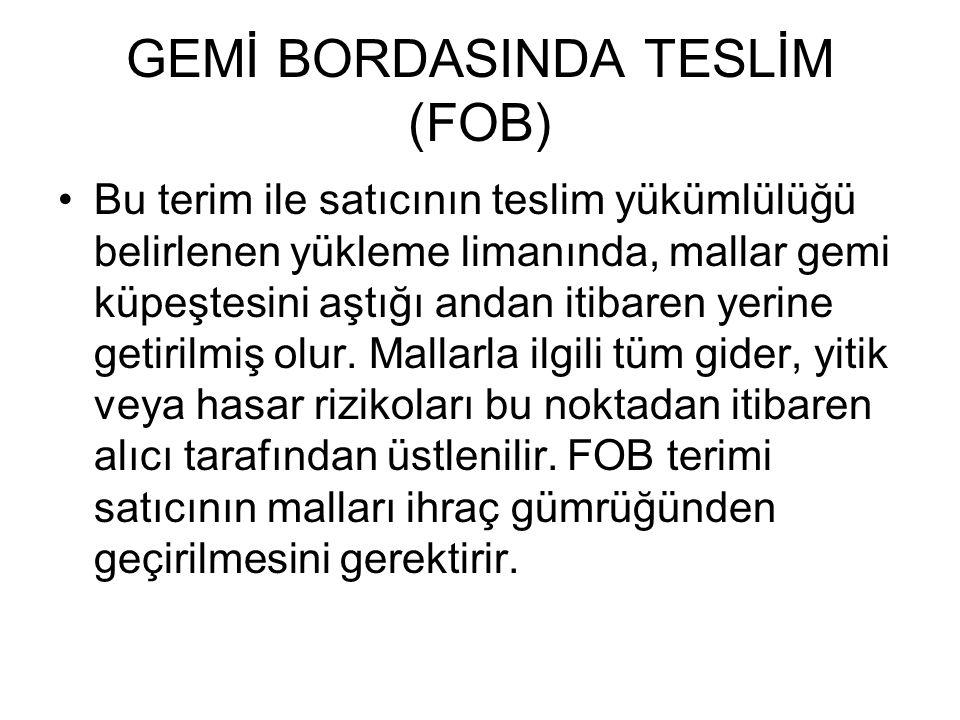 GEMİ BORDASINDA TESLİM (FOB)