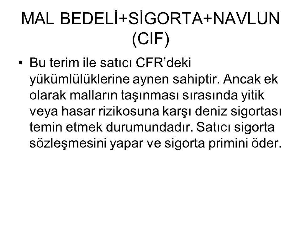 MAL BEDELİ+SİGORTA+NAVLUN (CIF)