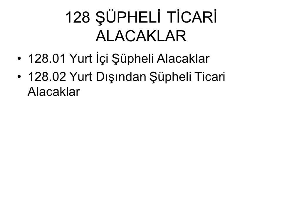 128 ŞÜPHELİ TİCARİ ALACAKLAR