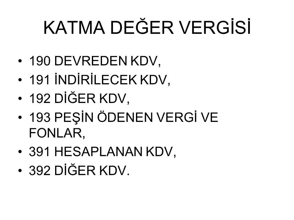 KATMA DEĞER VERGİSİ 190 DEVREDEN KDV, 191 İNDİRİLECEK KDV,