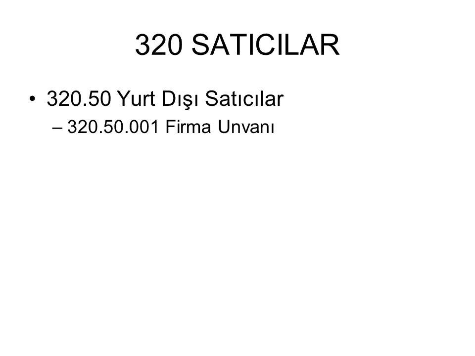 320 SATICILAR 320.50 Yurt Dışı Satıcılar 320.50.001 Firma Unvanı