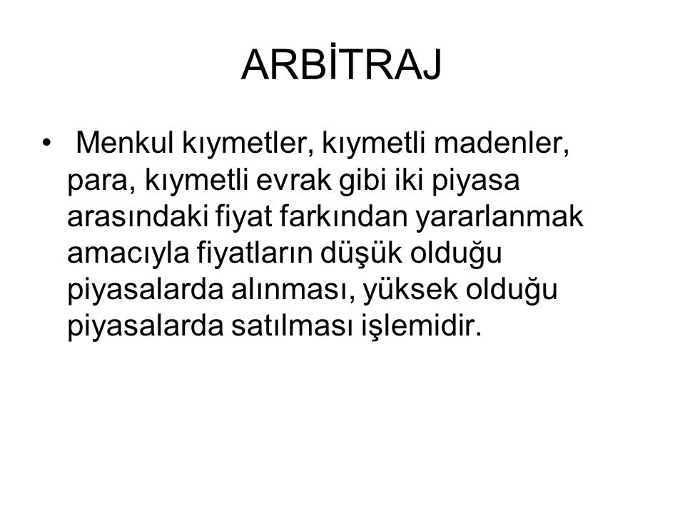 ARBİTRAJ