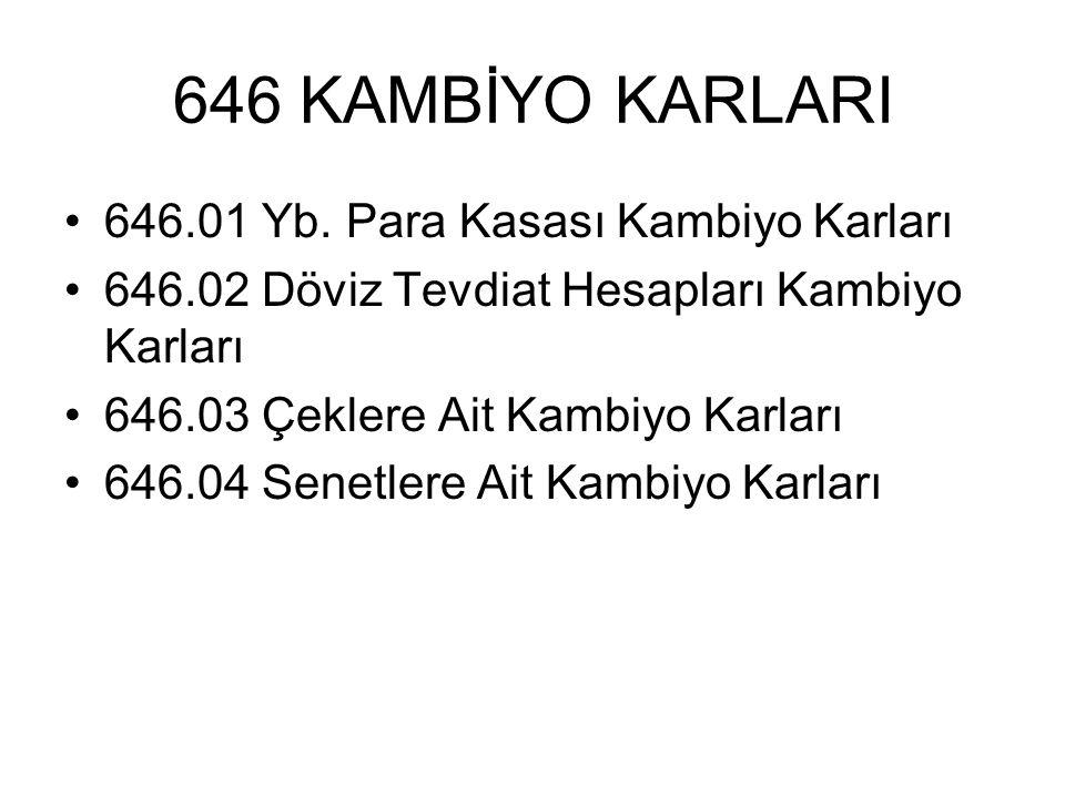 646 KAMBİYO KARLARI 646.01 Yb. Para Kasası Kambiyo Karları