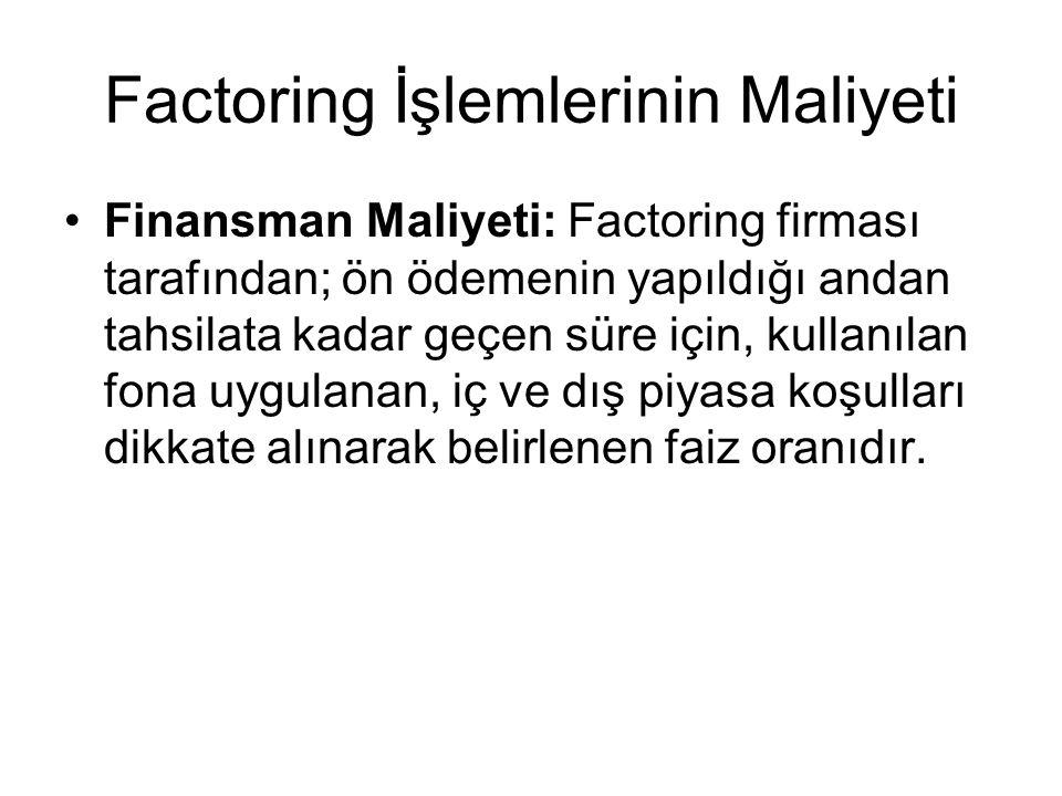 Factoring İşlemlerinin Maliyeti