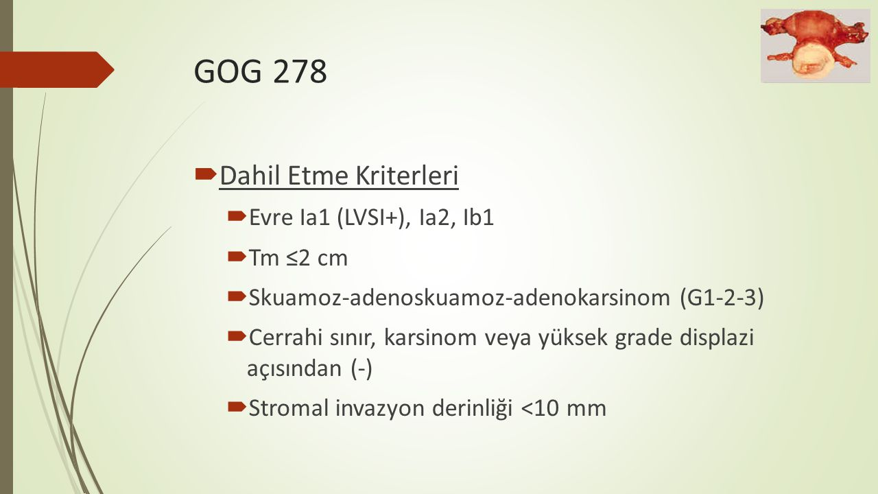 GOG 278 Dahil Etme Kriterleri Evre Ia1 (LVSI+), Ia2, Ib1 Tm ≤2 cm