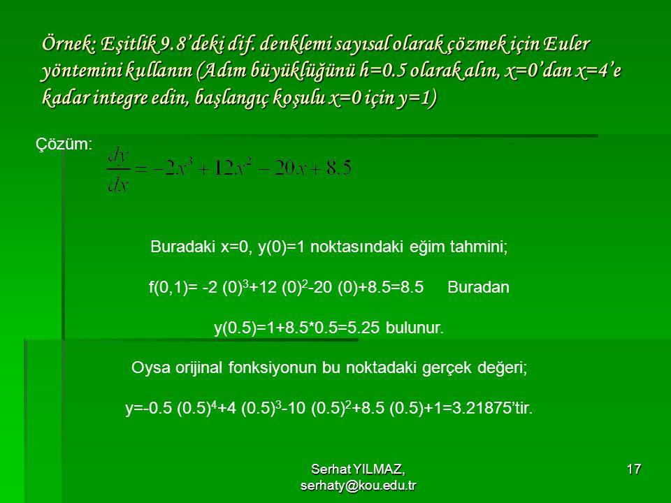 Örnek: Eşitlik 9. 8'deki dif