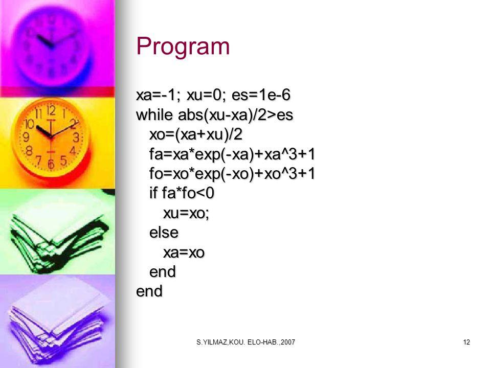 Program xa=-1; xu=0; es=1e-6 while abs(xu-xa)/2>es xo=(xa+xu)/2