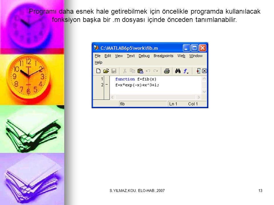 Programı daha esnek hale getirebilmek için öncelikle programda kullanılacak fonksiyon başka bir .m dosyası içinde önceden tanımlanabilir.