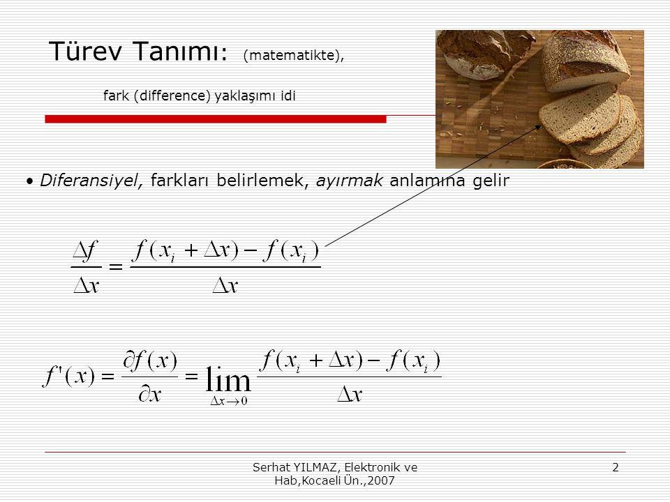 Türev Tanımı: (matematikte), fark (difference) yaklaşımı idi