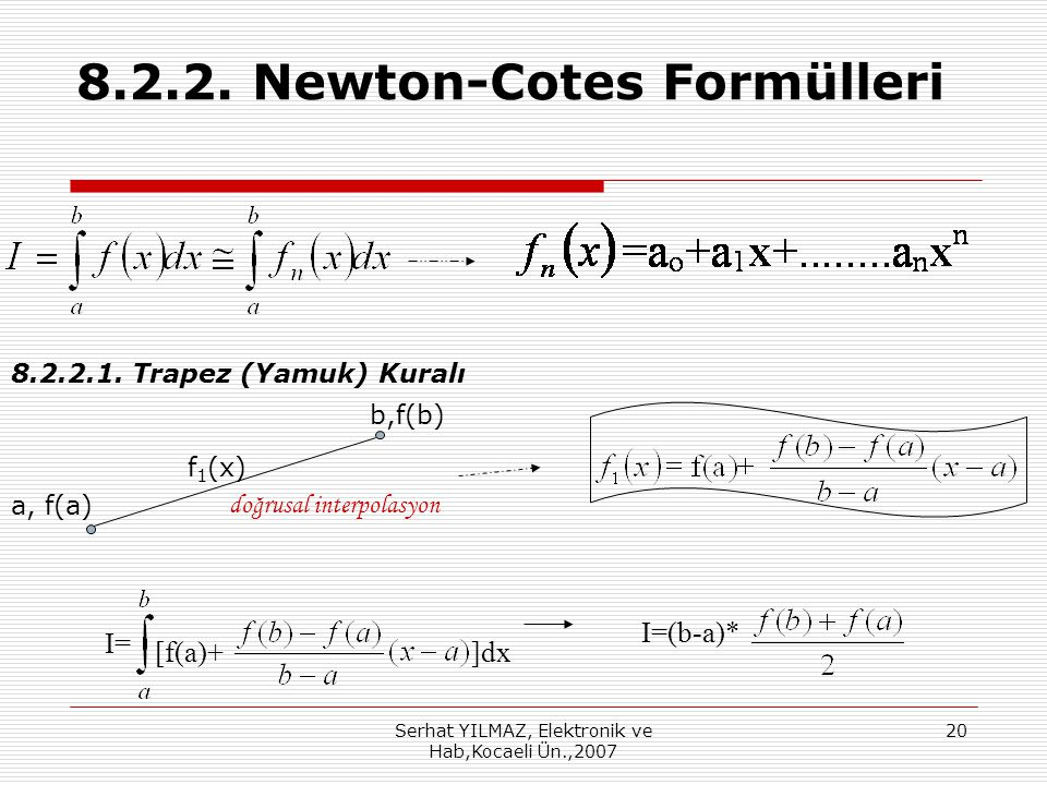 8.2.2. Newton-Cotes Formülleri