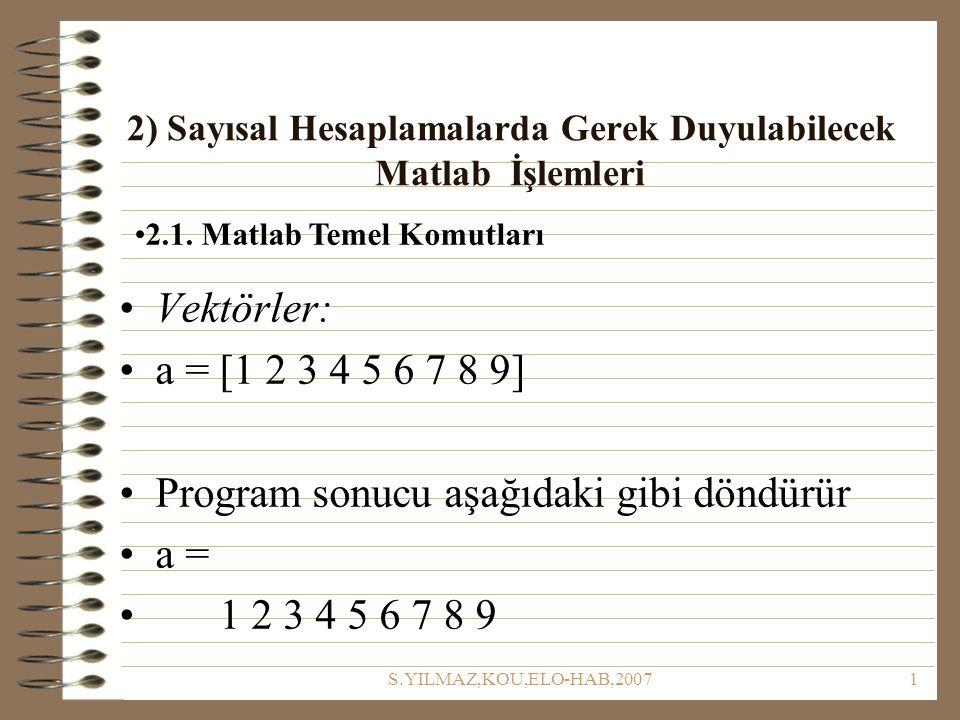 2) Sayısal Hesaplamalarda Gerek Duyulabilecek Matlab İşlemleri