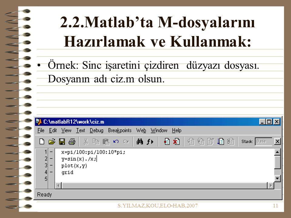 2.2.Matlab'ta M-dosyalarını Hazırlamak ve Kullanmak:
