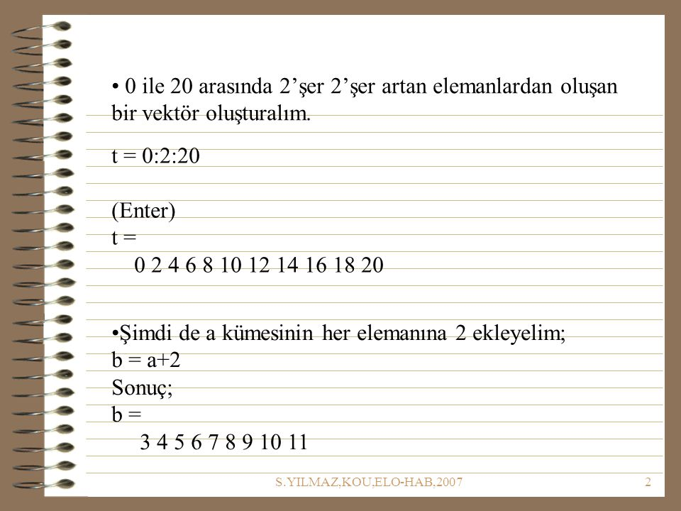 Şimdi de a kümesinin her elemanına 2 ekleyelim; b = a+2 Sonuç; b =