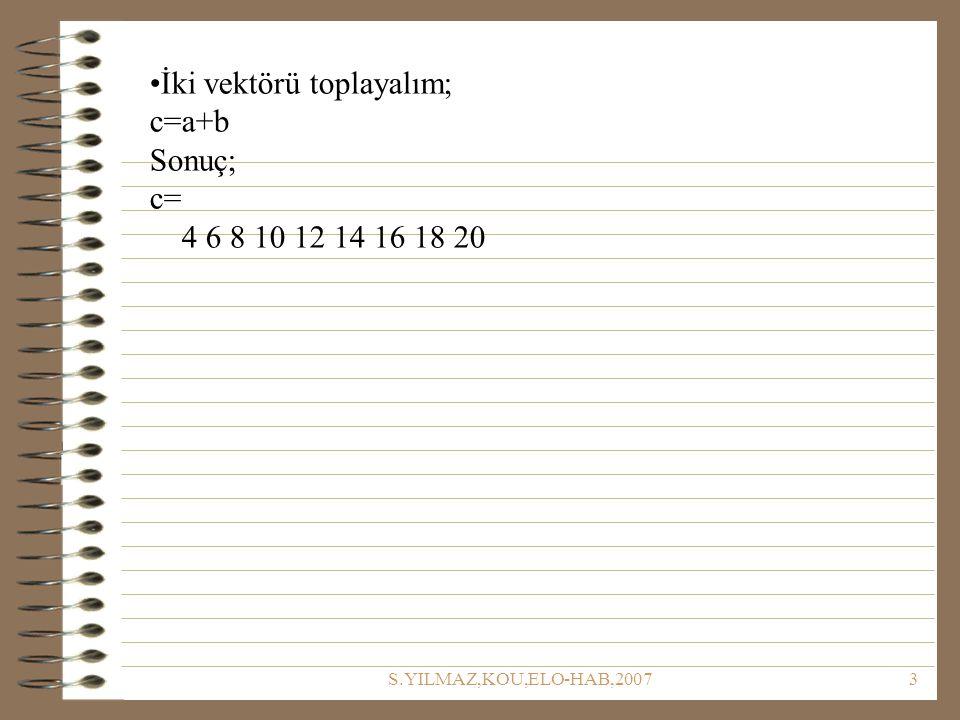 İki vektörü toplayalım; c=a+b Sonuç; c= 4 6 8 10 12 14 16 18 20