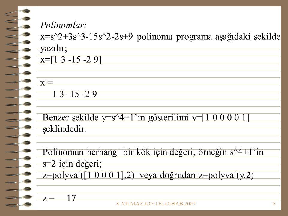 x=s^2+3s^3-15s^2-2s+9 polinomu programa aşağıdaki şekilde yazılır;
