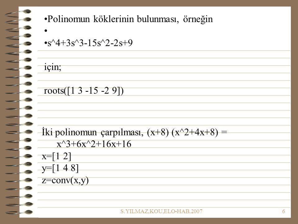 Polinomun köklerinin bulunması, örneğin s^4+3s^3-15s^2-2s+9 için;