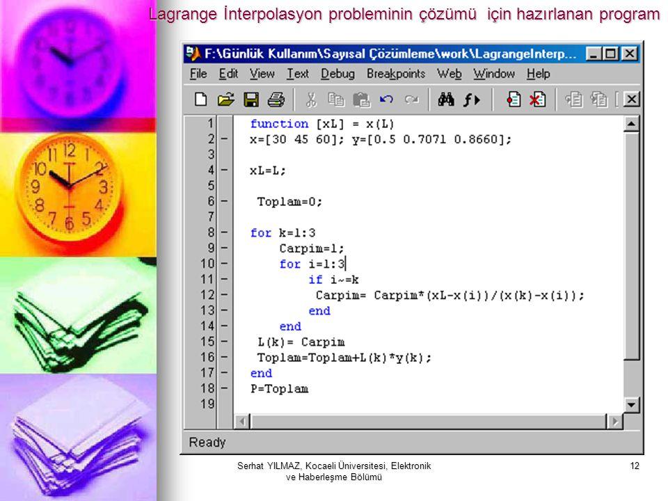 Serhat YILMAZ, Kocaeli Üniversitesi, Elektronik ve Haberleşme Bölümü