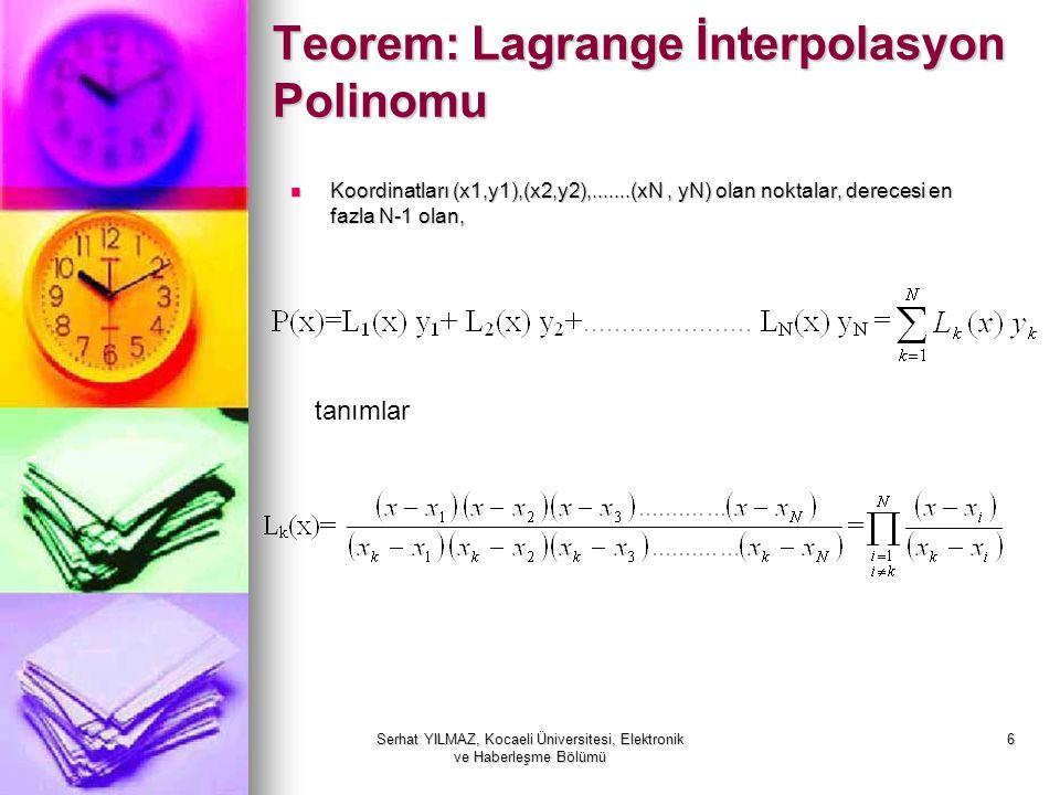 Teorem: Lagrange İnterpolasyon Polinomu