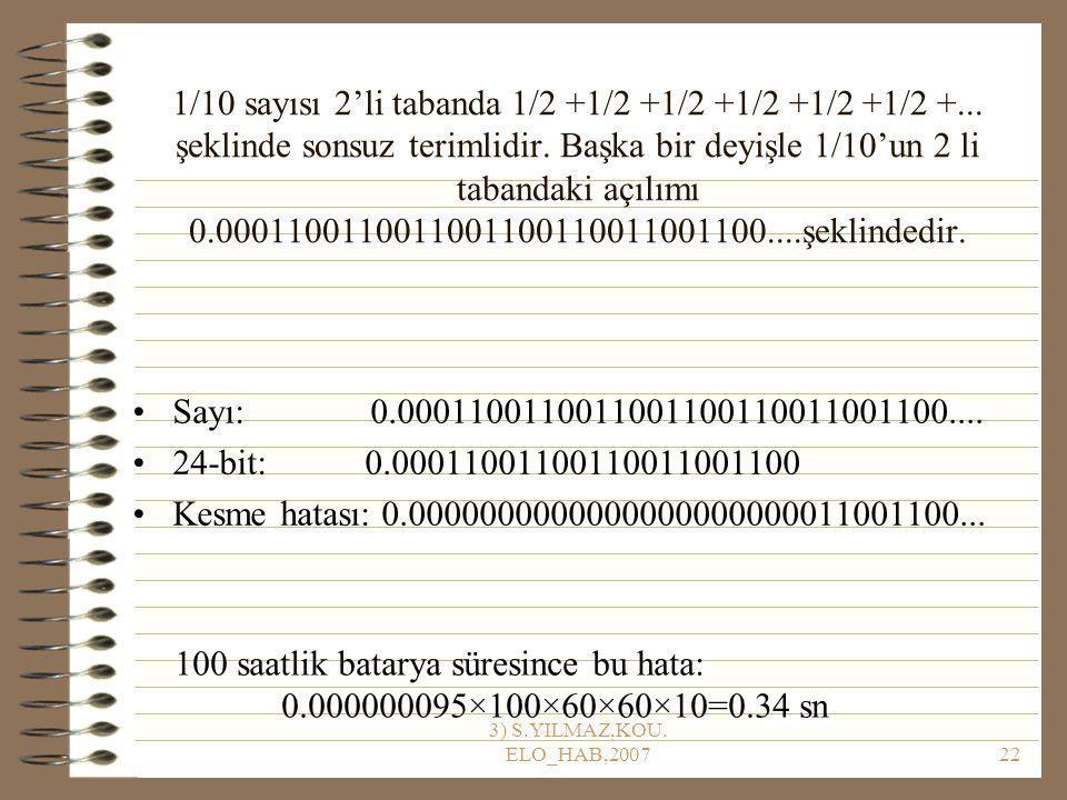 1/10 sayısı 2'li tabanda 1/2 +1/2 +1/2 +1/2 +1/2 +1/2 +