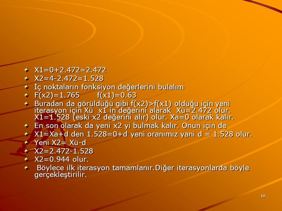 X1=0+2.472=2.472 X2=4-2.472=1.528. İç noktaların fonksiyon değerlerini bulalım. F(x2)=1.765 f(x1)=0.63.