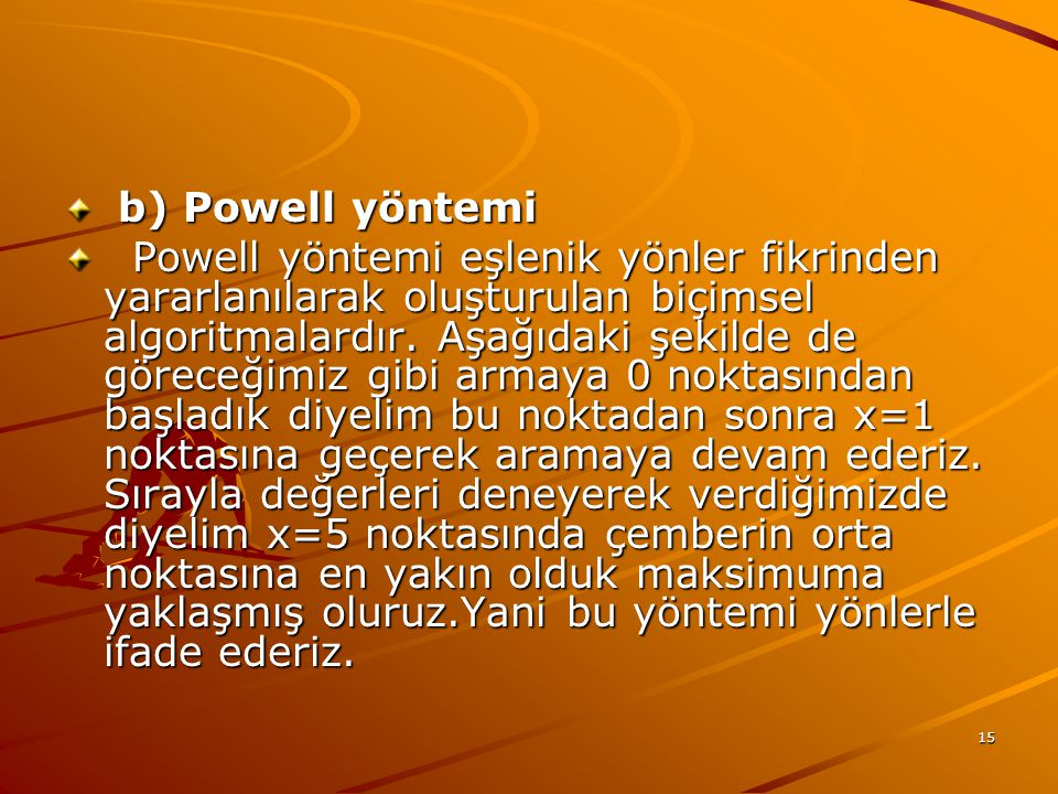 b) Powell yöntemi