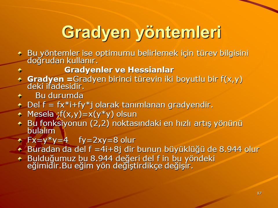 Gradyen yöntemleri Bu yöntemler ise optimumu belirlemek için türev bilgisini doğrudan kullanır. Gradyenler ve Hessianlar.