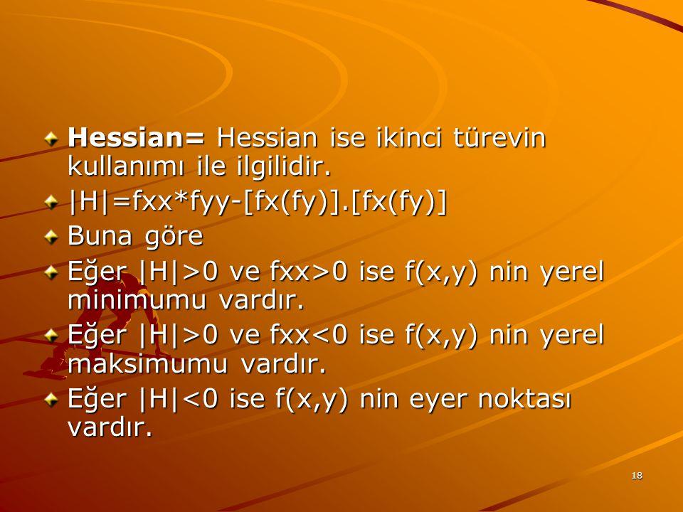 Hessian= Hessian ise ikinci türevin kullanımı ile ilgilidir.