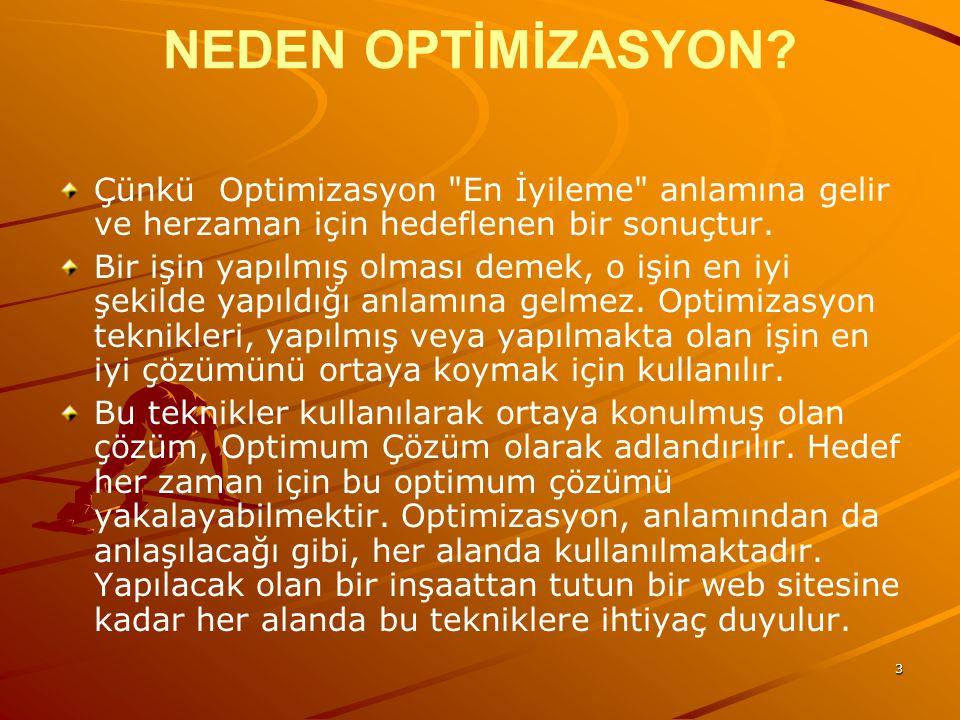 NEDEN OPTİMİZASYON Çünkü Optimizasyon En İyileme anlamına gelir ve herzaman için hedeflenen bir sonuçtur.