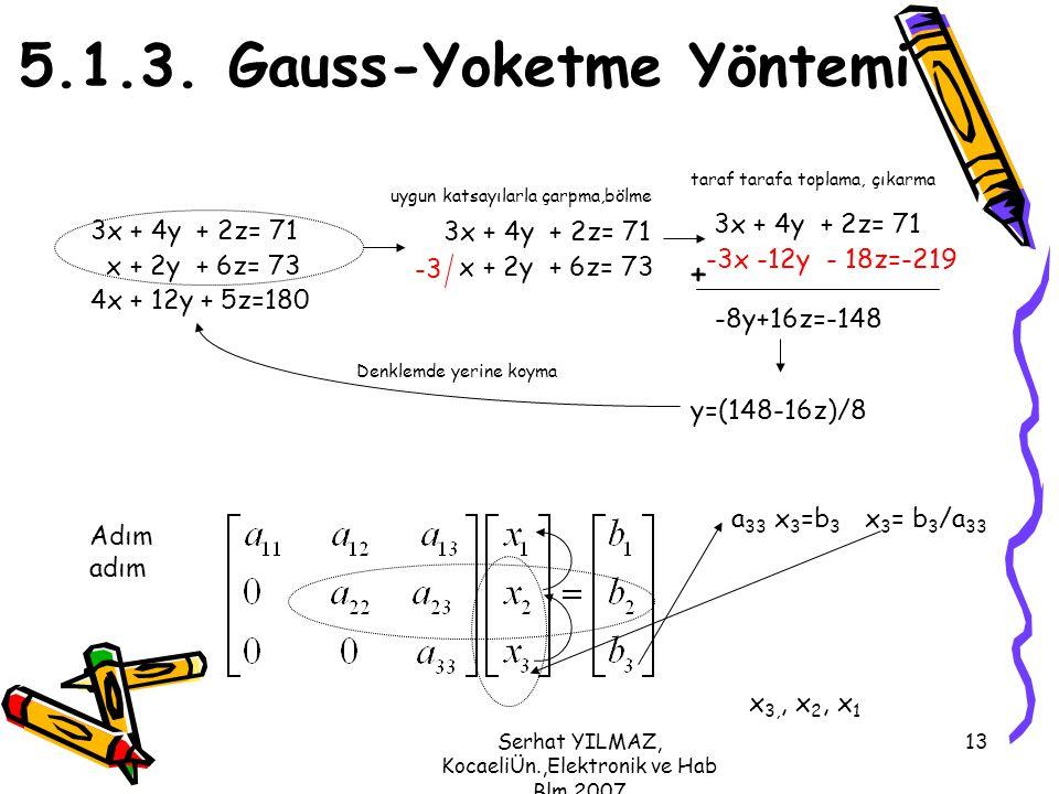 5.1.3. Gauss-Yoketme Yöntemi