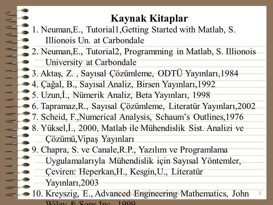 Kaynak Kitaplar 1. Neuman,E., Tutorial1,Getting Started with Matlab, S. Illionois Un. at Carbondale.